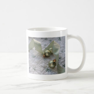 green ornaments and ribbon mug