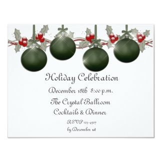 Green Ornaments Holly Invitation