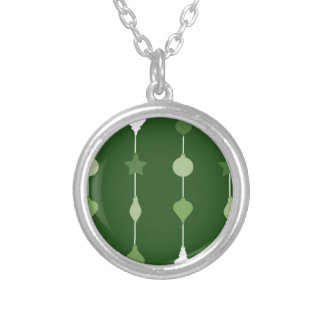 Green Ornaments Silver Plated Necklace