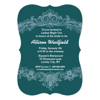 GREEN Ornate Baroque Ladies Night Out V03 Card