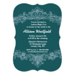 "GREEN Ornate Baroque Ladies Night Out V03 5"" X 7"" Invitation Card"