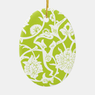 GREEN ORNATE PATTERN Double-Sided OVAL CERAMIC CHRISTMAS ORNAMENT