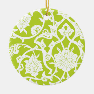 GREEN ORNATE PATTERN Double-Sided CERAMIC ROUND CHRISTMAS ORNAMENT