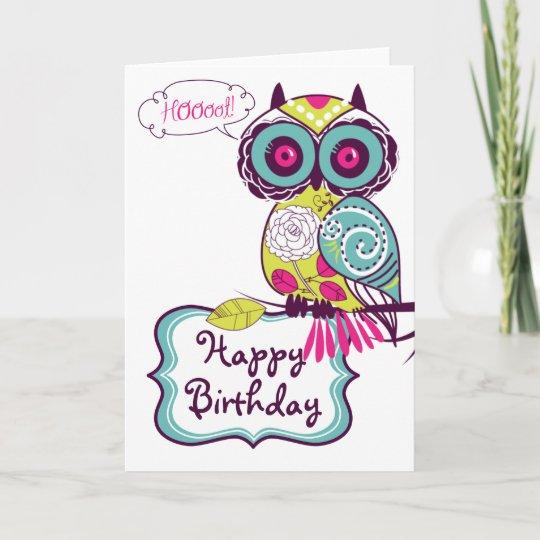 Green Ornate Retro Floral Owl Happy Birthday Card Zazzle