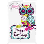 Green Ornate Retro Floral Owl Happy Birthday Card Greeting Card