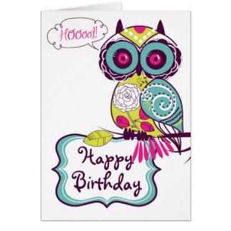 Green Ornate Retro Floral Owl Happy Birthday Card