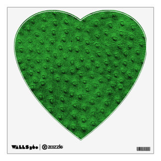 Green Ostrich Leather Print Heart Wall Decal