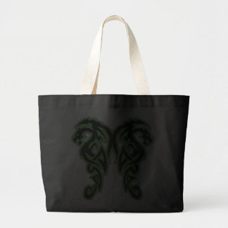 Green Outline Double Dragons Canvas Bag