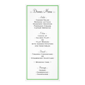 Green Outline Reception Menu Rack Card Template