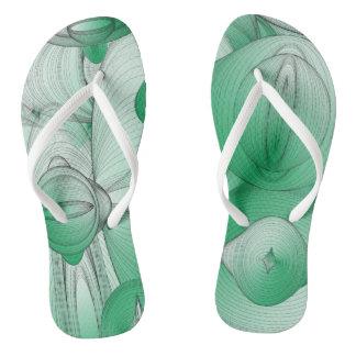 Green Oval Art Deco Flip Flops