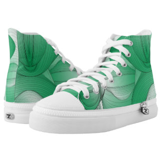 Green Oval Art Deco High-Top Sneakers