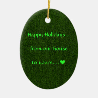 Green Oval Happy Holidays Ornament