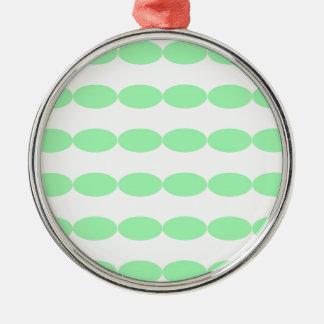 Green Oval Patterns Metal Ornament