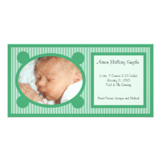 Green Oval Striped New Baby Photo Card
