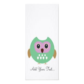 Green Owl 4x9.25 Paper Invitation Card