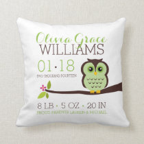 Green Owl Baby Birth Announcement Throw Pillow