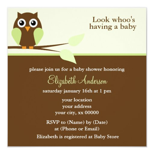 "Green Owl Baby Shower 5.25"" Square Invitation Card"