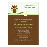 Green Owl Baby Shower Card