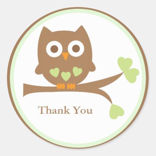 Green Owl Baby Shower Envelope Seals Classic Round Sticker