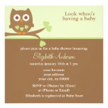 Green Owl Baby Shower Invites