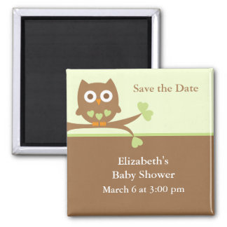 Green Owl Baby Shower Save the Date 2 Inch Square Magnet