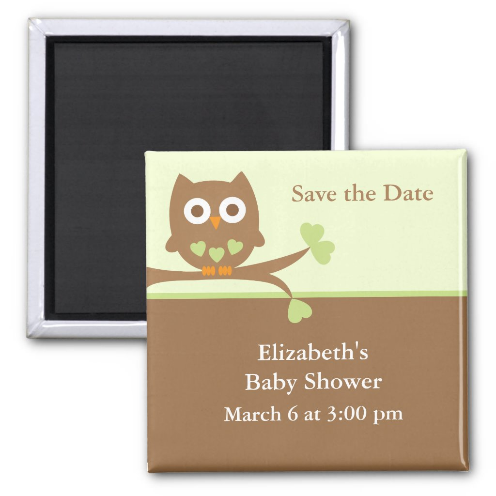 Green Owl Baby Shower Save the Date Fridge Magnets