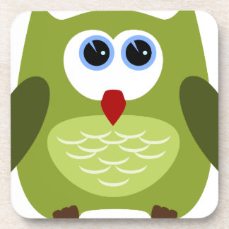 Green owl beverage coaster