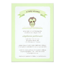 Green Owl Bring a Book Baby Shower Invitation