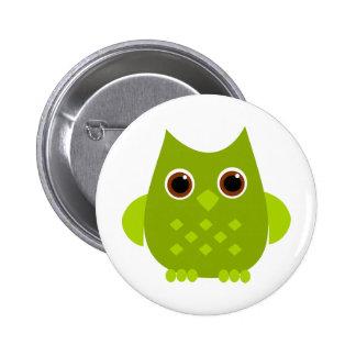 Green Owl Button