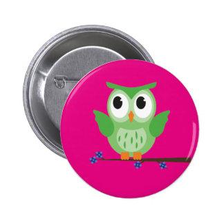 Green Owl Button Badge
