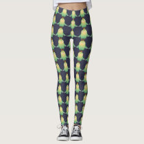 Green owl cartoon leggings