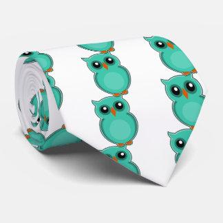 Green owl cartoon neck tie