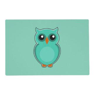 Green owl cartoon placemat