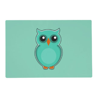 Green owl cartoon placemat