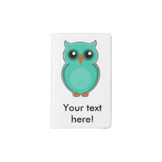 Green owl cartoon pocket moleskine notebook