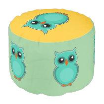 Green owl cartoon pouf