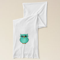 Green owl cartoon scarf