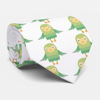 Green owl cartoon tie