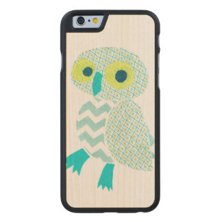 Green Owl Carved Maple iPhone 6 Slim Case