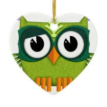 green owl ceramic ornament
