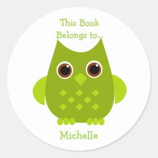 Green Owl Classic Round Sticker