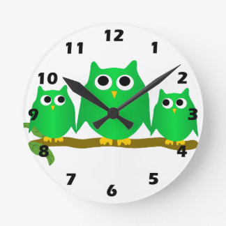Green Owl Clocks