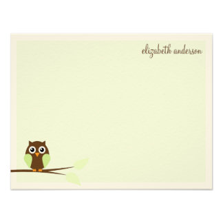 Green Owl Custom Flat Thank You Cards Invite