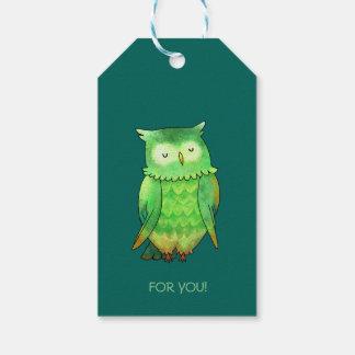 Green owl gift tag (customizable)