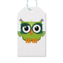 green owl gift tags