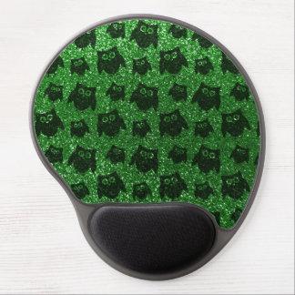 Green owl glitter pattern gel mouse pad