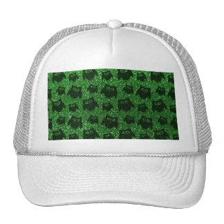 Green owl glitter pattern mesh hats