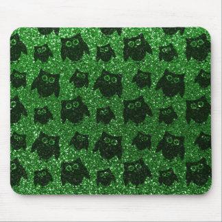 Green owl glitter pattern mousepad