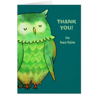 Green Owl Greeting Card(customizable)