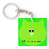 Green owl image add your name key-ring keychain